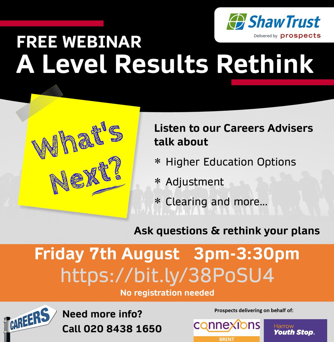 Don't miss the A Level results rethink webinar - TODAY at 3pm Set a reminder and join us via https://bit.ly/38PoSU4  #CareersAdvice for teenagers #London borough of #Brent  020 8438 1650  #JobSearch #University #Degree #GapYear #Apprenticeship #BrentWebinars #Jobspic.twitter.com/uXxQdJhu8B