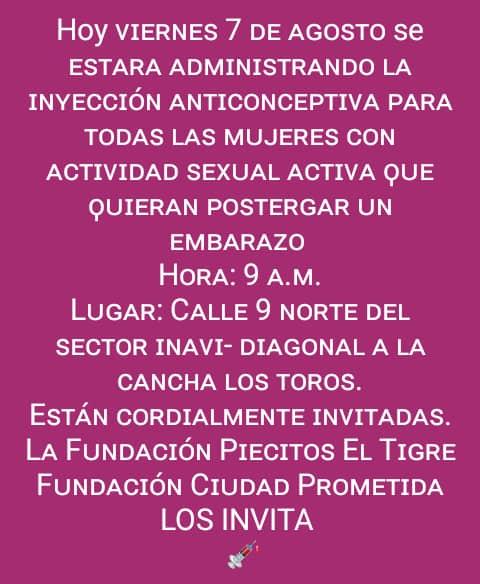 #7Agosto #NOTIGuanipa INFORMACIÓN DE INTERÉS   #ElTigre  Sector Inavi colocarán inyección anticonceptiva pic.twitter.com/uYZ7CLRq0Y