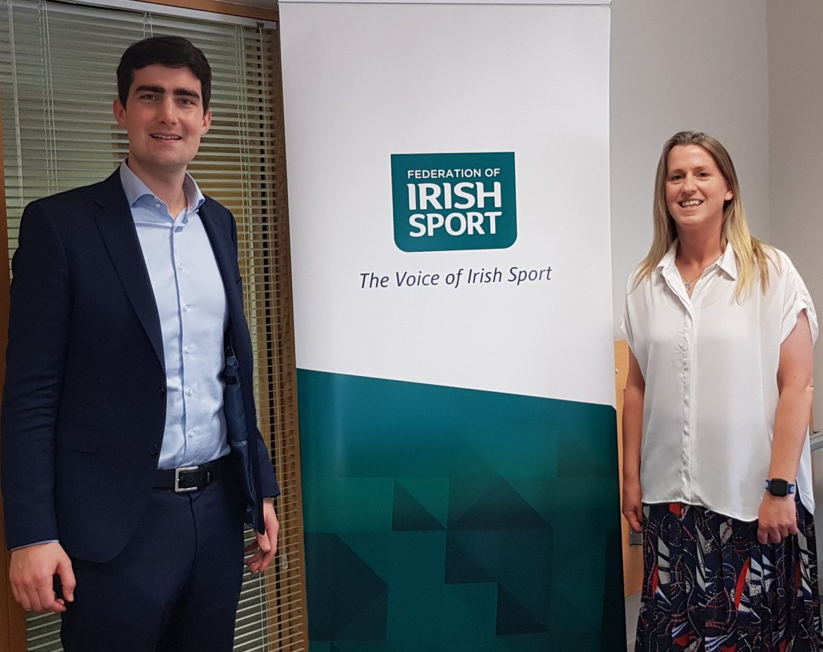We welcomed @jackfchambers Governmemt Chief whip & Minister of State with responsibility for the Gaeltacht & Sport to the Federation of Irish Sport office today. A great first meeting, we look forward to working with the Minister and wish him well in his role. #SportMatterspic.twitter.com/o4oFePUQzE