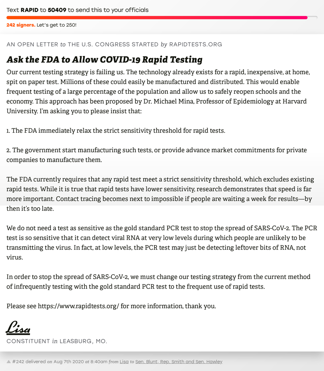 "🖋 Sign ""Ask the FDA to Allow COVID-19 Rapid Testing"" and I'll deliver a copy to your officials: https://t.co/twhsozTwHV  📨 No. 242 is from Lisa to @RoyBlunt, @RepJasonSmith and @SenHawleyPress #MO08 #MOpolitics https://t.co/MJgO5kmrqh"