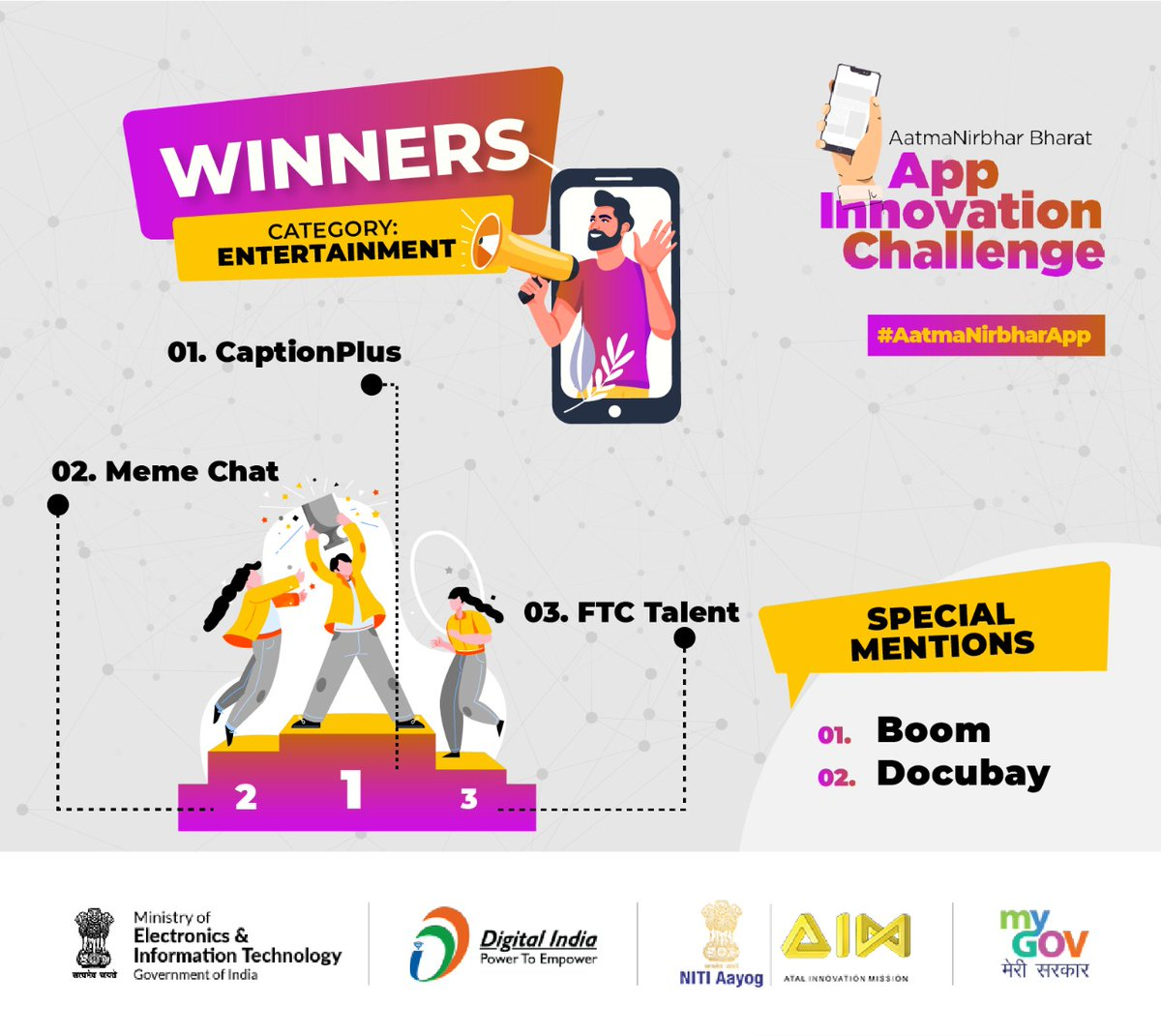 It's an extreme pleasure to announce the winners of the 'Entertainment Category', in the #AatmaNirbharApp Challenge. Congratulations! All entries were of a very high standard, and we urge you to download and start using these 100% Indian Apps today!