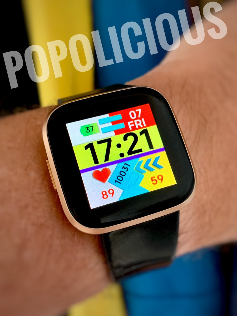 """Exclusive preview of """"Popolicious"""" #watchface #clockface by @GroenMarc coded by @NiVZ #fitbit #fitbitversa #fitbitversa2 #made4fitbitpic.twitter.com/I0ItSOoFbf"""