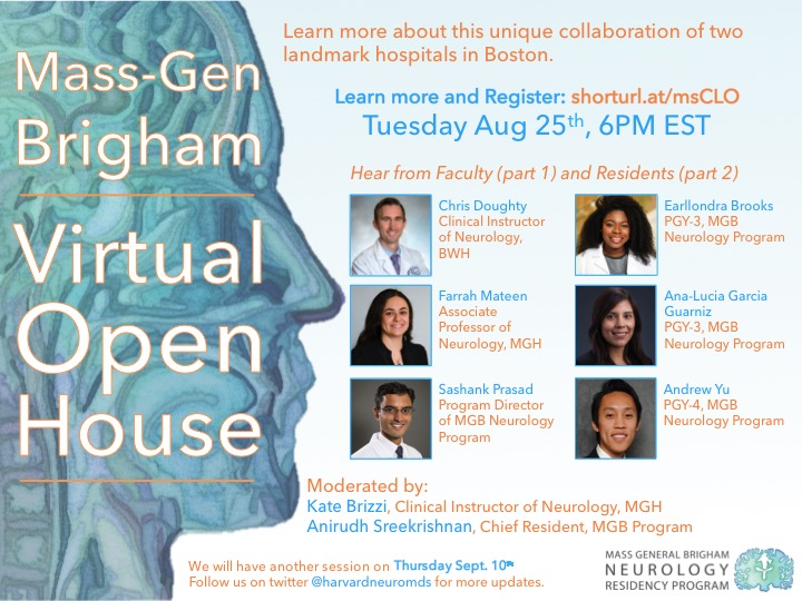 Future Neurologists! Learn more about the #MGBNeurology program on Aug 25 at 6PM. Our first *Virtual* Open House! With @prasad_sashank @analugguarniz @andrewyu8 @Anirudh_MD Register: partners.zoom.us/webinar/regist… #Neurotwitter #Neurology #MedEd