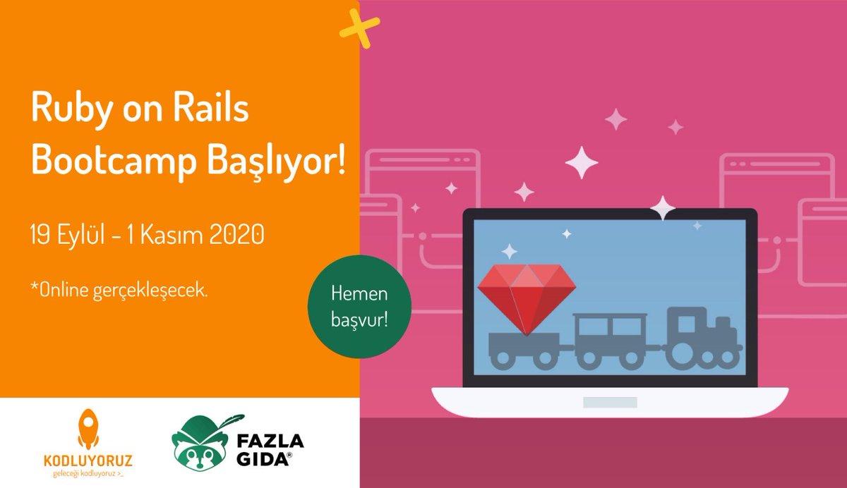 Yarattığın teknolojiyle neler değiştirebileceğini görmek mi istiyorsun?  #rubyonrails Boot Camp son başvuru tarihi 30 Ağustos! Kontenjan 35 kişi, dolmadan yerini kap!  #KodluyoruzRakunluyoruz #ThinkTankTeam @kodluyoruz pic.twitter.com/Dxgif6LBoS