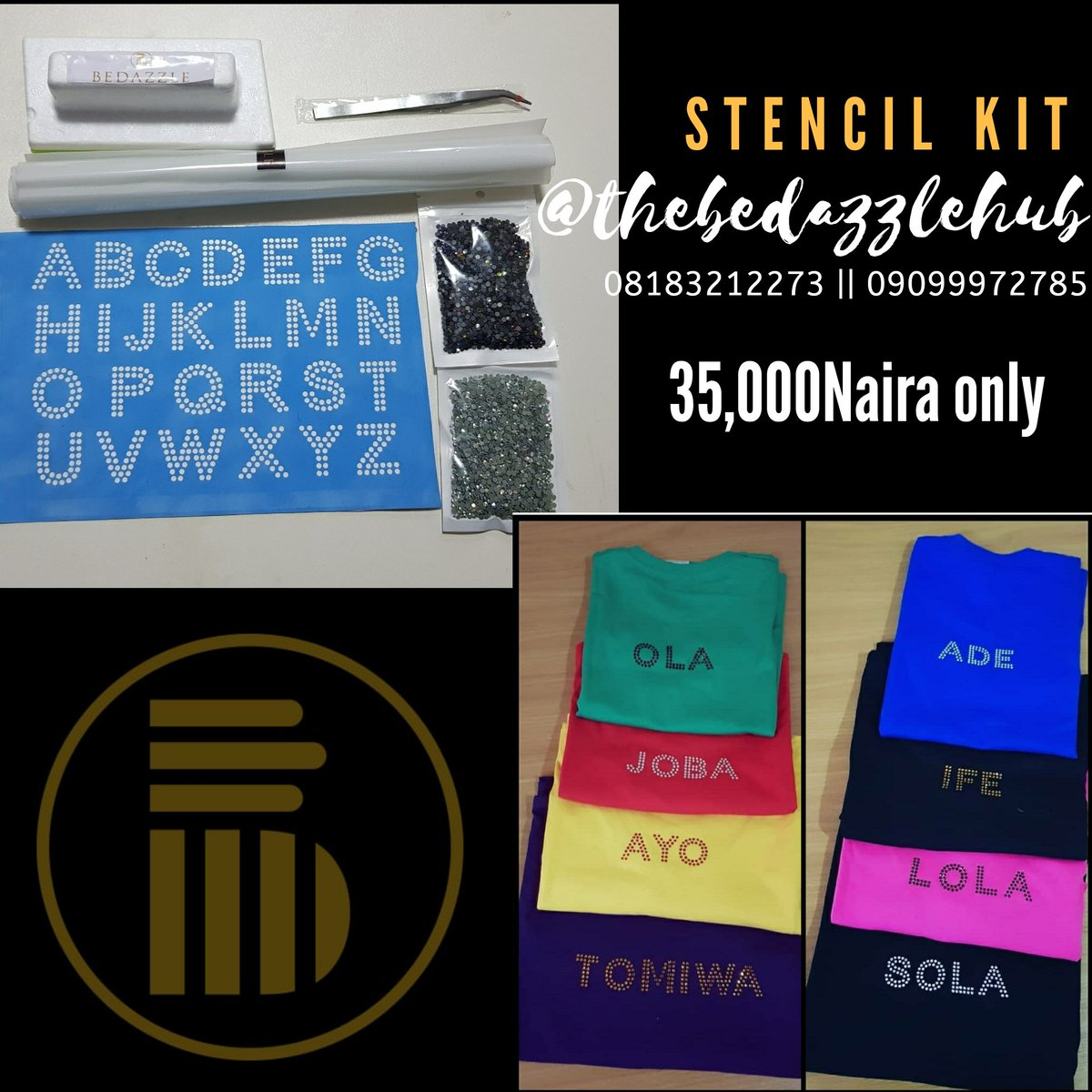 This stencil kit is exactly what you need to start designing words/Lettering on tshirts and other fabric surfaces. We also offer you a one on one online tutorial on how best to utilise your kit. Call/WhatsApp us on 08183212273 or 09099972785 to place your order @retweets_9japic.twitter.com/5xMakgtJpr