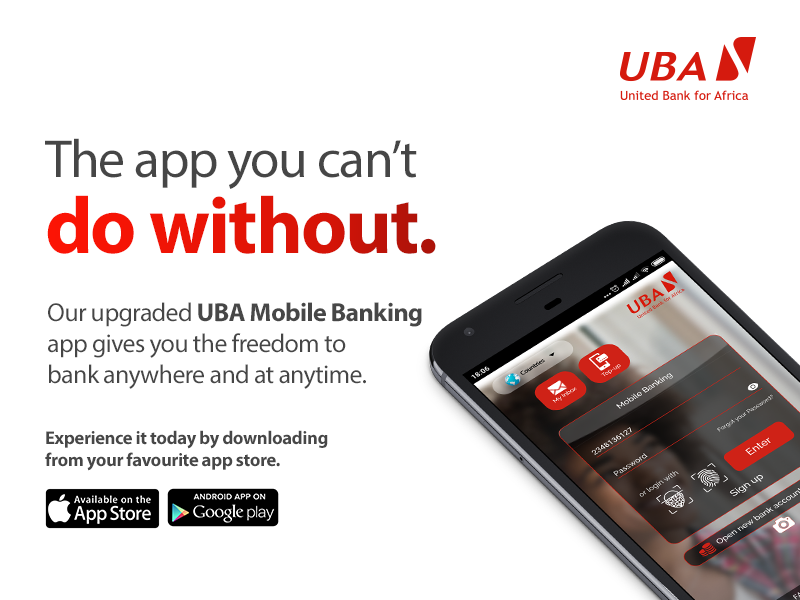 Bank from anywhere at anytime, with the upgraded UBA Mobile https://t.co/9Hf4w02x2M on Freedom, Bank with Africa's Global Bank. Available on Android and iOS. #UBAZambia https://t.co/513exRccD0