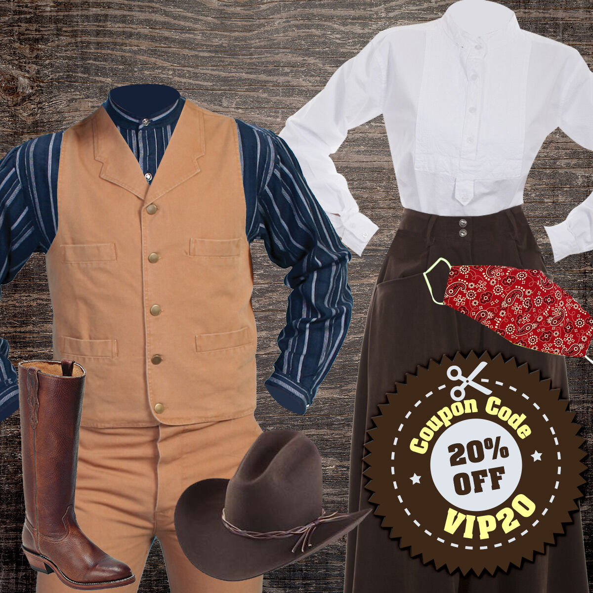 VIP Savings Starts Today! Save an EXTRA 20% Off Your Order 5 Days Only Use Coupon Code VIP20 at checkout. Plus Free Ground Shipping on orders over $100 Shop Now: https://bit.ly/3fC63p8 #wildwestmercantile #vintagecowboy #oldwestclothes #victorianclothes #VIPSavings #wildwest pic.twitter.com/OdffdALRLB