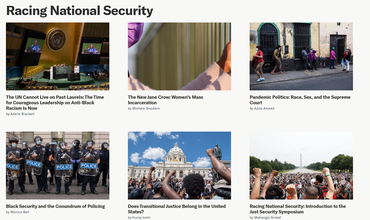 Filled with gratitude and awe for @matiangai for her leadership of #RacingNationalSecurity series at Just Security. All the works are now published.👇 A resource for continued conversations and analysis @just_security and elsewhere. justsecurity.org/tag/racing-nat… #RacialJustice