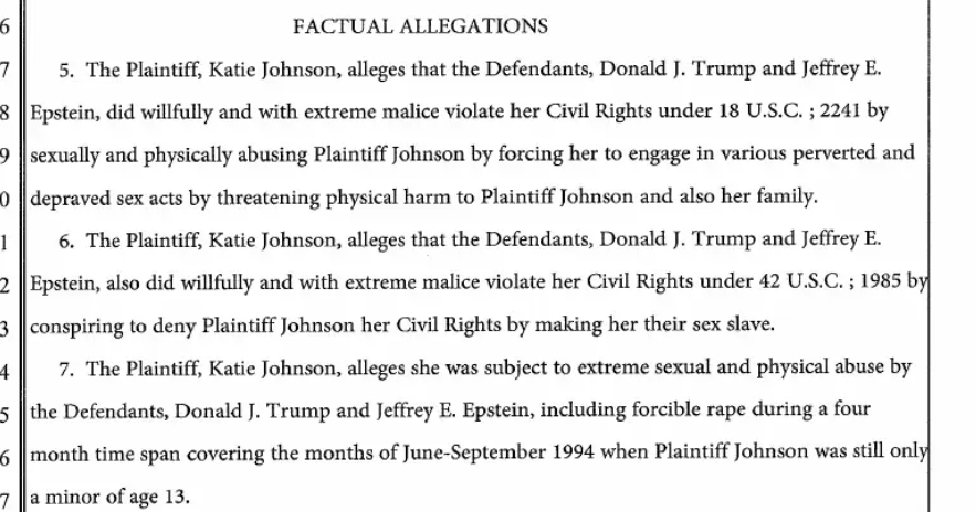 """WTF. Here we have a 2016 case where a victim sued @realDonaldTrump AND Jeffery #Epstein for """"maliciously"""" sexually violating her multiple times when she was THIRTEEN.  #EpsteinFiles #EpsteinIsland  [PDF] https://t.co/x63FhJMmL1 https://t.co/LLUMeDSmwV"""