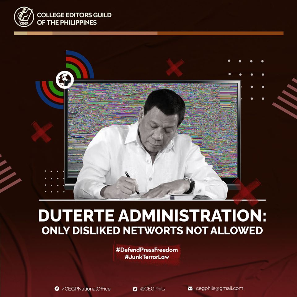 It has been noticed throughout Duterte's regime of his biased decisions. He also has been bent in silencing dissent and influencing newsrooms to favor political agendas rather than to serve the truth.  Read more: https://www.facebook.com/CEGPNationalOffice/photos/a.10150662923805458/10157091970215458/?type=3&theater…  #DefendPressFreedom #JunkTerrorLawpic.twitter.com/l1xRAkMJog