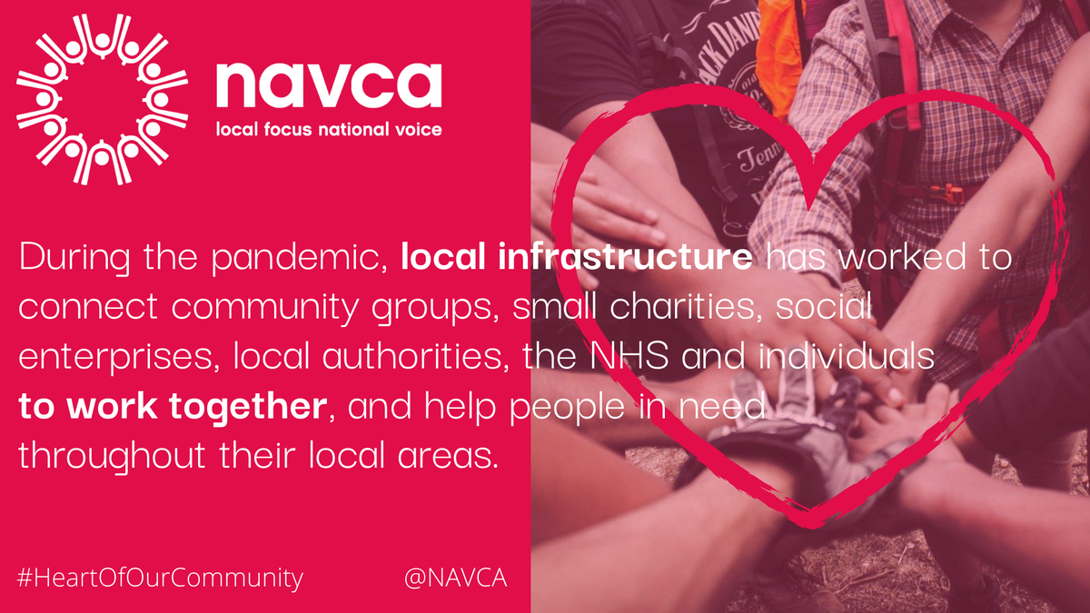 You can download all our #HeartOfOurCommunity materials from our website - navca.org.uk/heart-of-our-c… And please do - and then please share and shout your thanks to local infrastructure for their amazing work during this pandemic.