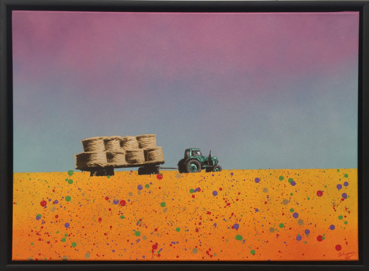 """Latest Art  Alchemist of the Land: This painting entitled """"Alchemist of the Land"""" uses a hand cut stencil spray painted against a semi abstract setting. The bales are painted with gold acrylic and liquid chrome highlights so they really glisten in the… http://dlvr.it/RdBVpCpic.twitter.com/sEVdKyPmPj"""