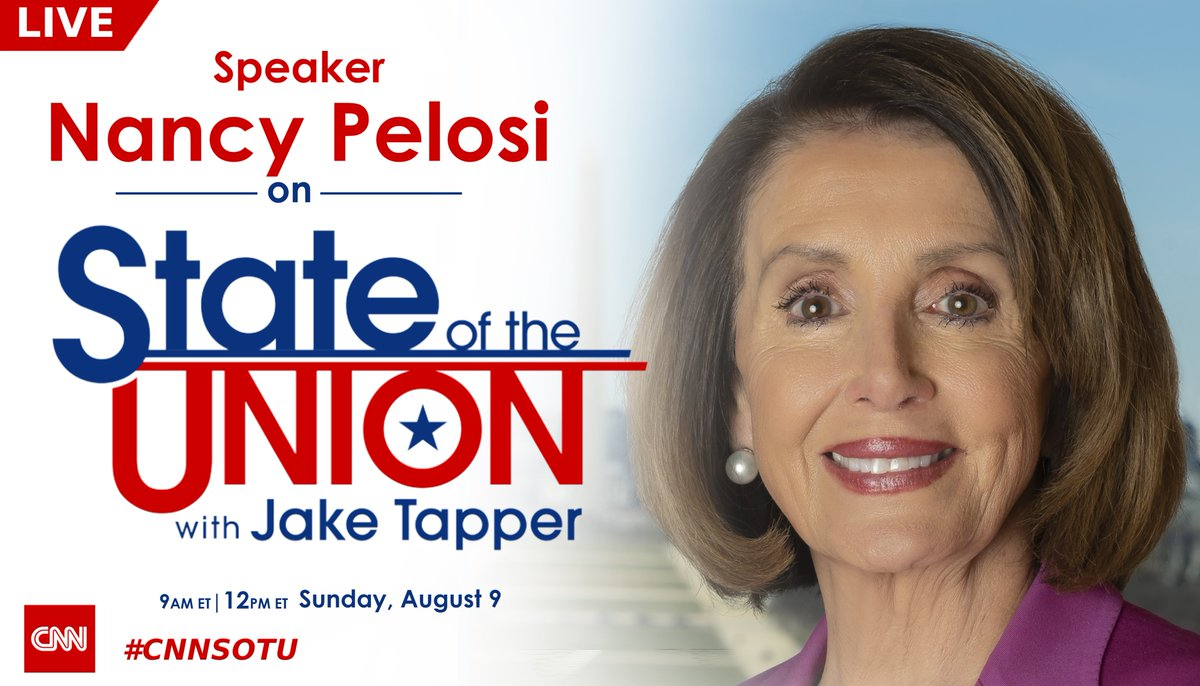 SUNDAY: @SpeakerPelosi joins #CNNSOTU LIVE. Hope you join us!