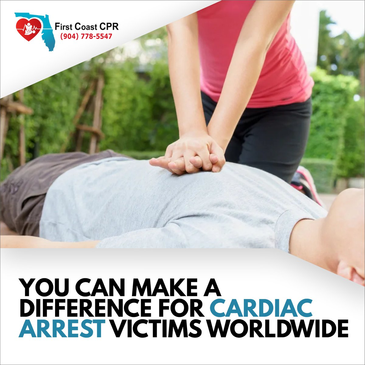 Sudden cardiac arrest (SCA) is a major problem, yet few people know how to identify and address this issue correctly. -- http://firstcoastcpr.com  #firstcoastcpr #cpr #firstaid #firstaidtraining #herotrainingcenter #BLS #AED #AHA #cprcetification #trainingcenter #nurse #nursingpic.twitter.com/JFheB2C6Gl