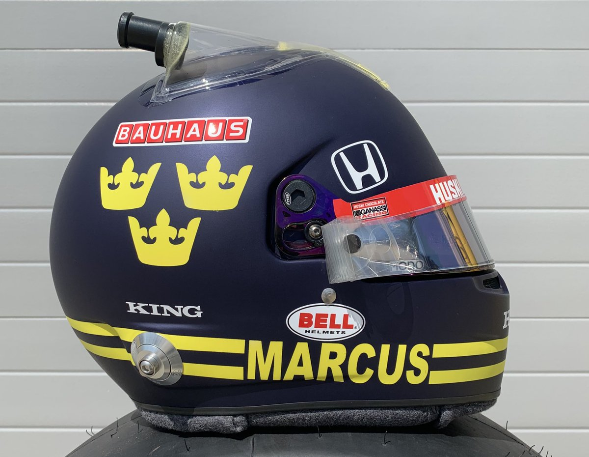 New Retro Helmet designed for @Ericsson_Marcus ahead of this years #Indy500   a deep powder blue and huge Ronnie Peterson inspired elements as well as combining aspects of last years 500 special and an inclusion of the 'Tre Kronor' for a full 1970's inspire look  #Indycar #ME8 https://t.co/25bIf4zYEM