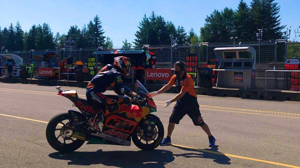 #Moto2 FP2 Results ⏱ #CzechGP 🇨🇿   @tetsuta45 ➡ 13th @88jorgemartin ➡ 19th  #GivesYouWings #ReadyToRace @MotoGP #AjoMotorsport #AjoFamily https://t.co/IFd4HenMph