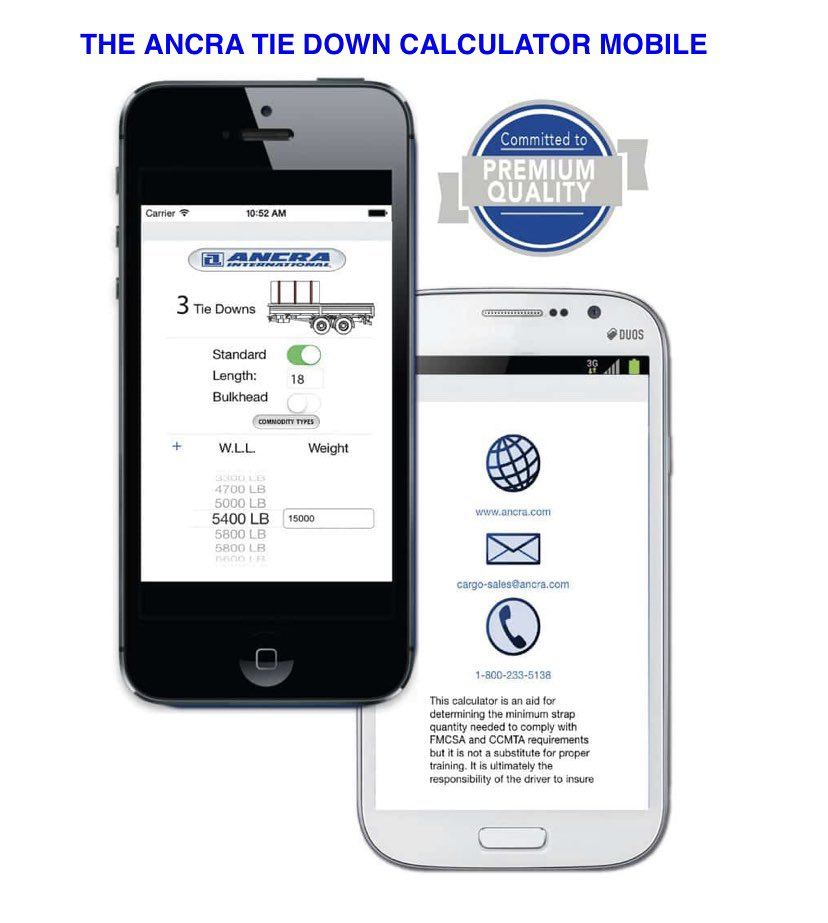 Download Ancra's app available FREE on the App Store and Google Play. This calculator is an aid for determining the minimum strap requirements needed to comply with FMCSA and CCMTA.   Read more here: https://t.co/MrGNky03zn https://t.co/sjJZEiBZI4