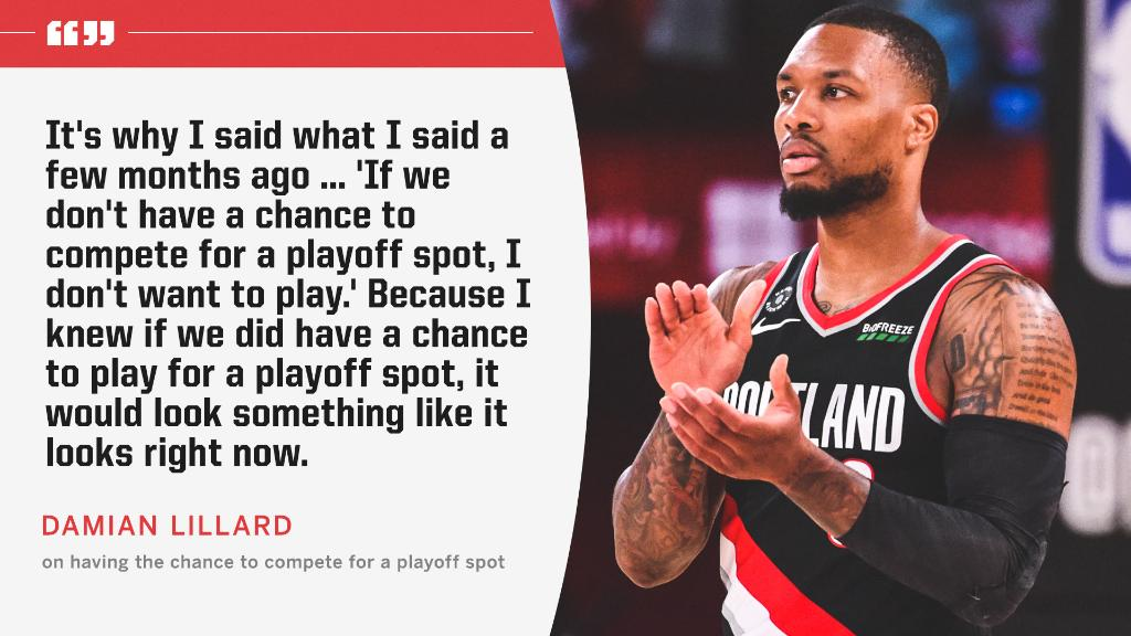 In late May before the restart format was known, Damian Lillard made it clear: He wasn't coming unless he had a chance.  The Blazers are now a half-game back from the No. 8 seed Grizzlies. https://t.co/j2I9afvE0K