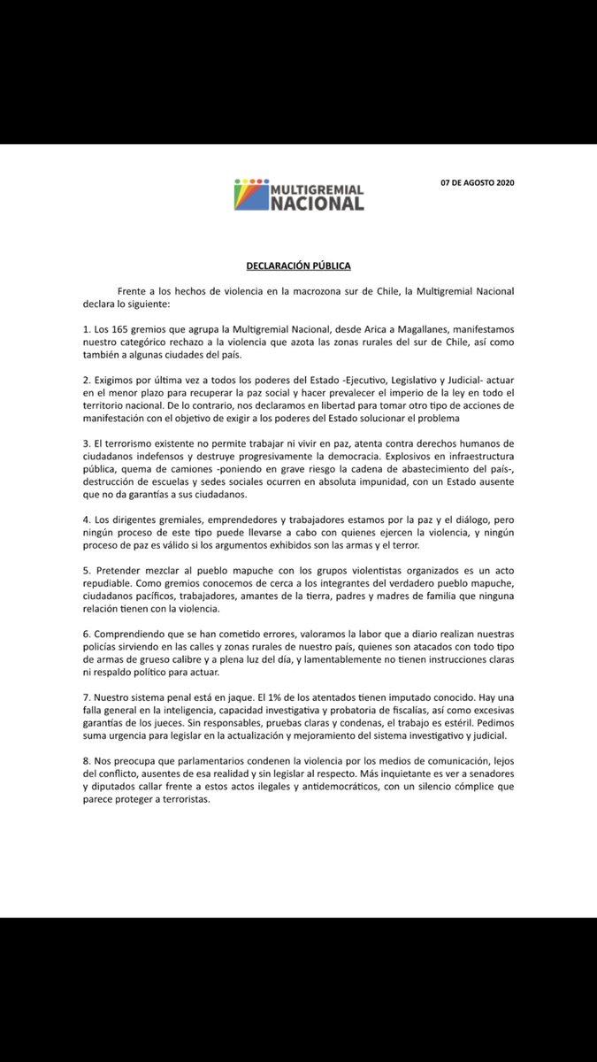 Tremenda declaración de @MultigremialN @juanpabloswett BASTAAAA!!!! Que la mayoría silenciosa, deje de ser silenciosa. #PazParaChile #PazParaLaAraucanía #VolvamosACrecer https://t.co/FnRvaXKH9d