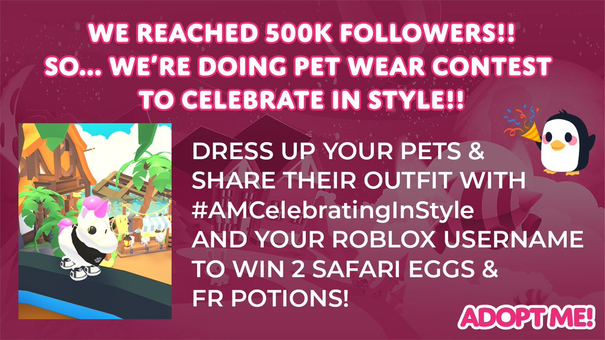 Cute Roblox Adopt Me Halloween Outfits Adopt Me On Twitter We Hit 500k Followers This Is Absolutely Wild So Let S Celebrate In Style Show Off Your Pet S Outfit And Tweet It With Amcelebratinginstyle And Your Roblox Username