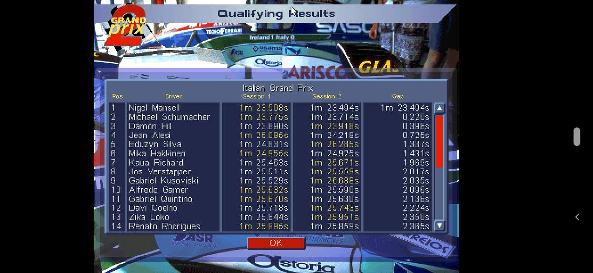 Grid de Largada para o Grande Prêmio Esso da Itália. #GP2OC1994 #ItalianGp https://t.co/MZY0U05hyC