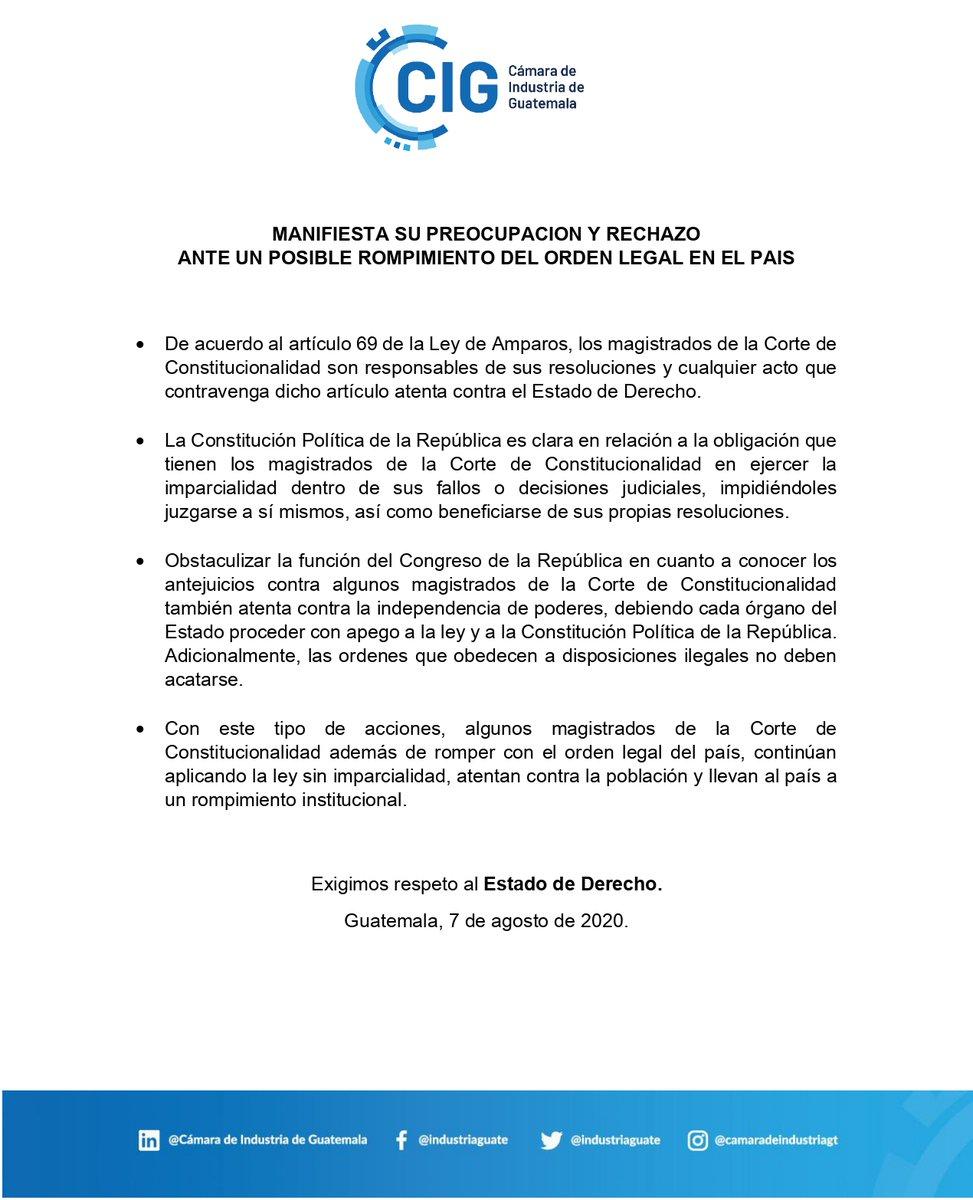 """test Twitter Media - La CIG emite comunicado en el que menciona estar preocupado y rechaza """"un posible rompimiento del orden legal en el país"""". https://t.co/8jBxW4joDo"""