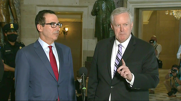 Latest WH/Dem Ldr talks produce no deal on a Coronavirus relief bill. With @stevenmnuchin1 at his side, WH Chief of Staff Mark Meadows, says they will now encourage Pres Trump to take executive action to alleviate some of the pain Americans are feeling.