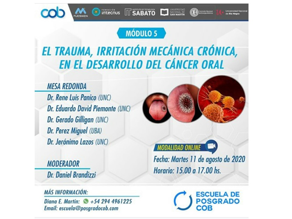#Webinar | Continúa el webinar Medicina Bucal Odontología y Estomatología, abordaje interdisciplinario de la especialidad   Módulo 5: El trauma, irritación mecánica crónica, en el desarrollo del cáncer oral  Martes 11/08 |  15 hs  Para más infohttps://bit.ly/Webinar-Medicina-Bucal-Odontología…pic.twitter.com/0fWtKT3P2Z
