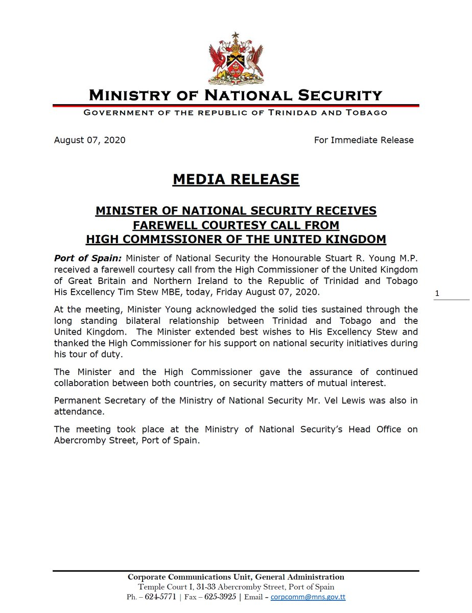 Media Release - Minister of National Security Receives Farewell Courtesy Call from High Commissioner of the United Kingdom. @OPM_TT @minofcomm_tt @HCTimStew @newsgovtt @tttliveonline @tv6tnt @CNC3TV @IETV1 @expressupdates @Newsday_TT @GuardianTT @LoopNewsTT @103FMTrinidad https://t.co/bY7ZqYYf2Z