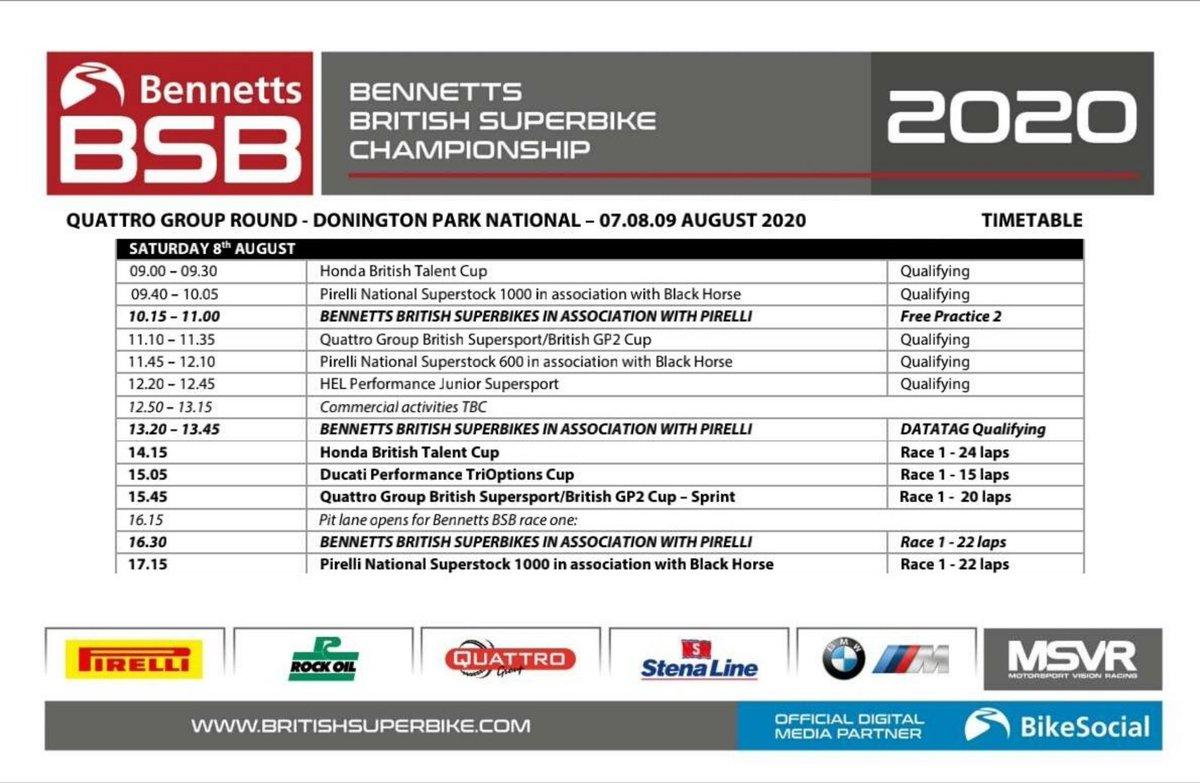 Timetable (GMT+1) 🇬🇧 #BSBRestart #Qualifying & #Race1 @OfficialBSB (08/08/2020) @DoningtonParkUK https://t.co/VcTjqOc94a