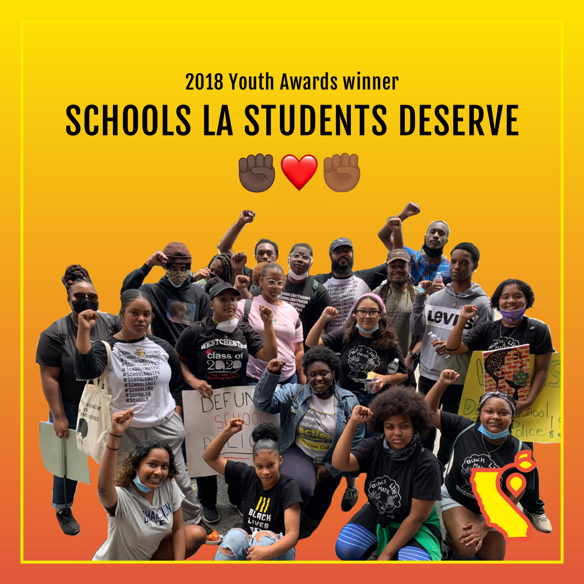 Since @LA_StudentsDsrv won a Youth Award in 2018, theyve been busy. 🎉The LA-based organization led the push (alongside @BLMLA) to defund the LA School Police Department by $25 million, securing a historic victory in the fight for Black lives in schools. THREAD 1/4