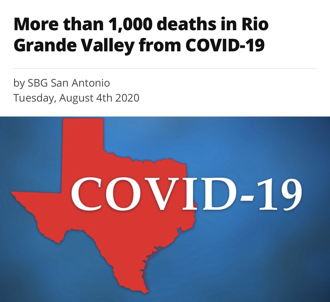 This is not going away, please follow all social distance guidelines #WearMask #WashHands we have lost far too many loved ones #RGV #Covid19pic.twitter.com/n6MM9xWXjH