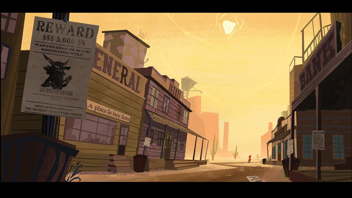 A peak into Red leaving town!   #Visdev #conceptart #redesign #fairytale #RedRidingHood #AnimationArt #Western #desert #painting #digitalpainting #photoshop #westerntown #wantedposter #wolf #cartoonpic.twitter.com/SnGixEuYfx