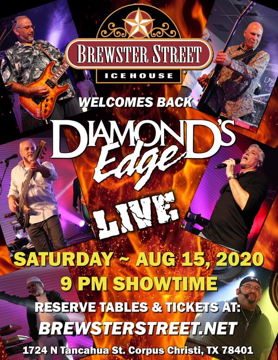 Diamond's Edge will be live at Brewster Street Icehouse - Downtown on Saturday, August 15th! This is a socially distanced, reserved seating concert.There will be limited seating. Tickets at:  http://bit.ly/DEAUG  #WashHands #WearAMask #KeepDistance #diamondsedge1pic.twitter.com/vVa1XmPgAG