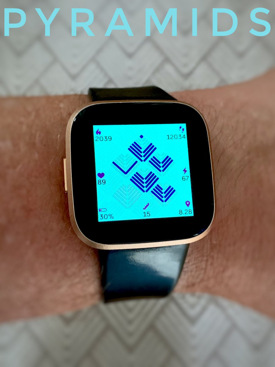 """Awesome new """"Pyramids"""" #watchface #clockface with AOD mode by @nevraw #Fitbit #fitbitversa #fitbitversa2 #made4fitbitpic.twitter.com/MmYFNyk260"""