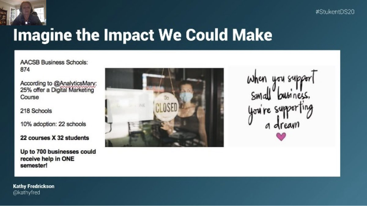 "Great takeaway from this session. Why not provide students ""practice"" while helping industry! #experientiallearning #FCS #StukentDS20pic.twitter.com/UIb5Ac3PJz"