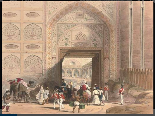 "Main Entrance to Hyderabad Fort, Sind  From the collection ""Sketches of Scinde"" and handprinted lithographs by Lt. William Edwards in 1846 #Sindhpic.twitter.com/YIhzEUb4pX"