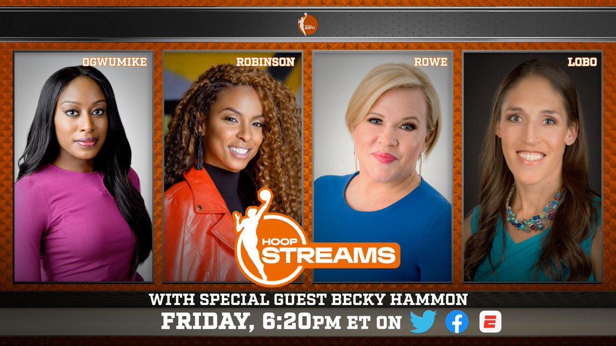 A special edition of #HoopStreams welcomes @spurs assistant coach and @WNBA veteran @BeckyHammon ahead of tonight's ESPN2 doubleheader  📱HoopStreams | 6:20 p.m. ET 📺 @nyliberty vs. @WashMystics |  7 p.m. | ESPN2, ESPN App 📺 @LASparks vs. @LVAces | 9 p.m. | ESPN2, ESPN App https://t.co/X4COgenksO