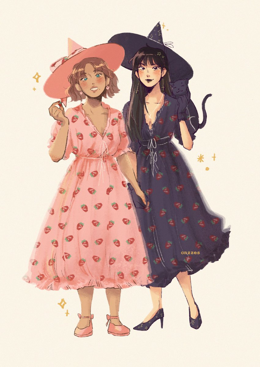 witch girlfriends wearing matching strawberry dresses 🍓✨
