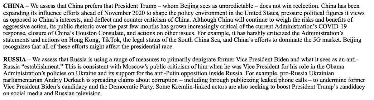 China doesnt want Trump to win re-election and Russia is using a range of measures to primarily denigrate Biden in the election, the intel communitys top election official, @NCSCgovs Bill Evanina says in a statement.