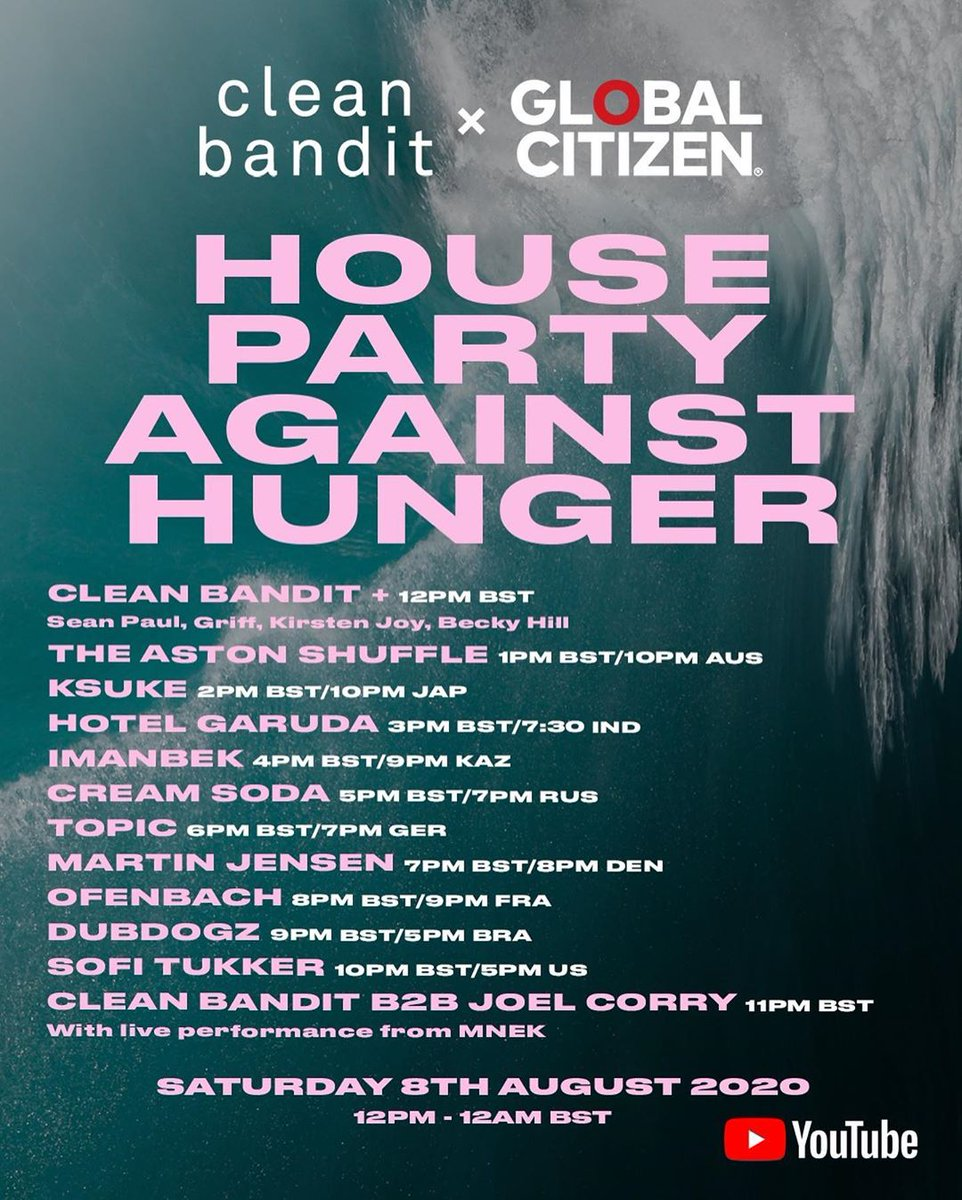 Joining us from 12pm midday BST tomorrow: @duttypaul, @BeckyHill, @wiffygriffy, @KirstenJoyMusic🎊🌎 And @JoelCorry and @MNEK will be performing their number 1 single for the first time ever!!  Tune in, get ready for a party!#CleanBanditxGlobalCitizen https://t.co/mqdIH6erfM https://t.co/EZY70vZI2r