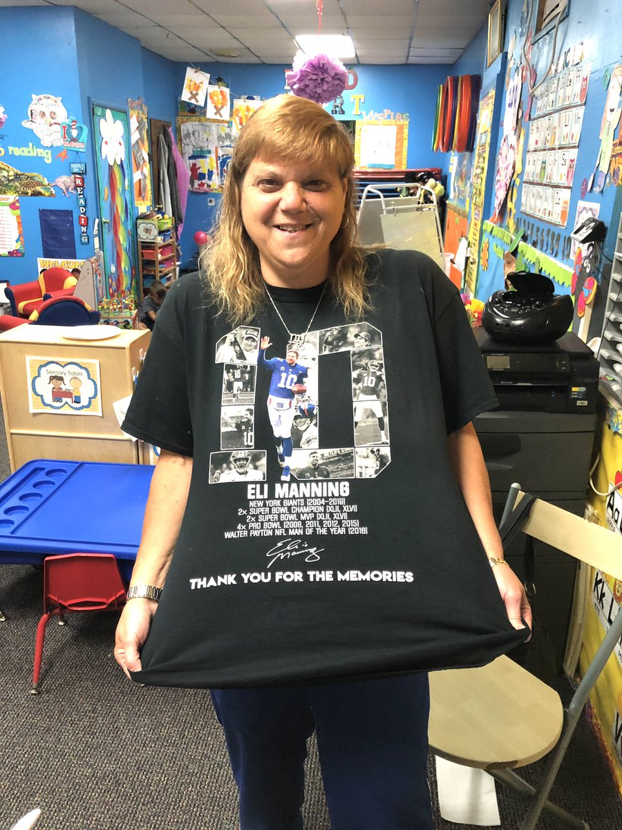 One of my favorite shirts representing at my pre school @EliManning I will miss you so much !! #Giants #quarterback #footballislife #newyorktough #ChildrensLivesMatterpic.twitter.com/kwDOXCM02A