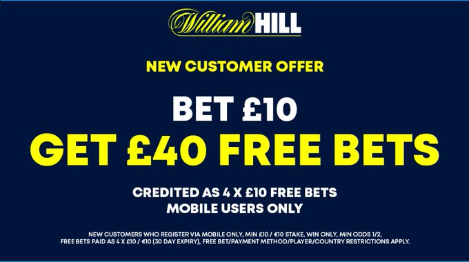 WILLIAM HILL OFFER FOR today's Football    ⏤ Join William Hill on your MOBILE ⏤ Bet £10 on any #Football   ⏤ Get 4 x £10 FREE BETS   CLAIM HERE: https://t.co/nChoNN7uDm  (New customer offer T&Cs apply 18+ begambleaware) https://t.co/6DIJNxezWi