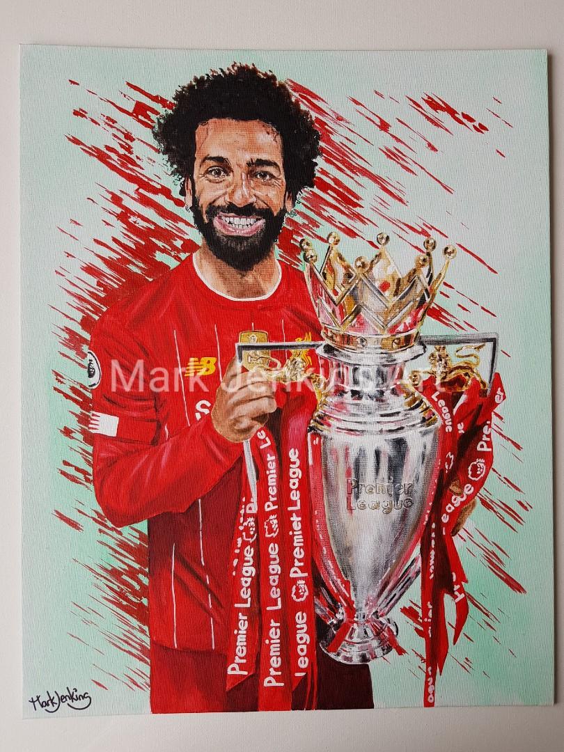 All my paintings of Mo Salah with the silverware from the 19/20 Season 😁🎨🏆🏆🏆🏆 #LFC #YNWA #LFCchampions @MoSalah