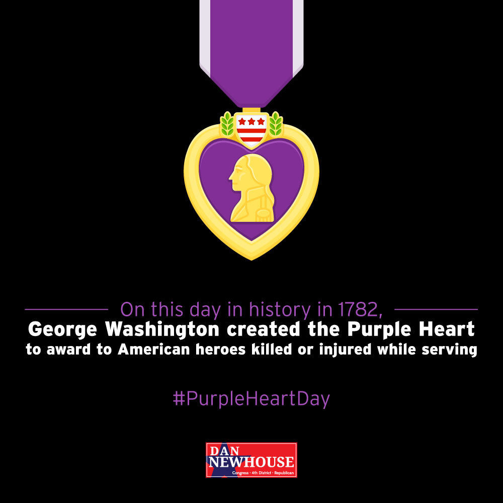 On this day in history in 1782, George Washington instituted the Purple Heart. Those who receive this badge of military merit are true heroes of the United States. https://t.co/chNgmIKOF4