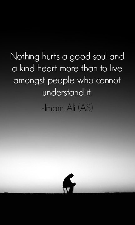 Nothing hurts a good soul and a kind heart more than to live among st people who cannot understand it *Imam Ali* #LiveLikeAlipic.twitter.com/4o0euiGbSH