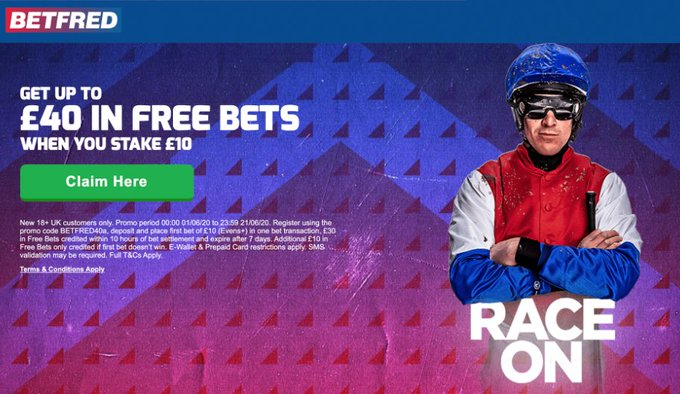 Get a FREE £40 Bet on todays Horse Racing 🏇 Bet £10 and get up to £40 in Free Bets when you join Betfred Today  #HorseRacing #Ascot #Newmarket   Claim via the link below 👇 https://t.co/BZ4COuGVij  18+ | T&C's Apply | New Customer Offer | BeGambleAware https://t.co/d5OU3ZEdXI