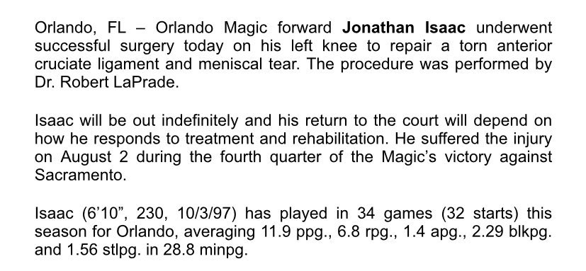 Jonathan Isaac had successful surgery to repair a torn ACL in his left knee today according to @Magic_PR. Another long road back begins for Isaac, he's got the kind of positive outlook you need to get through it. #magic #nba https://t.co/fZazN6gWVp