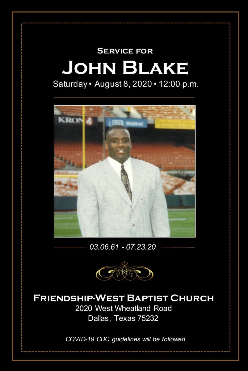 For those interested John Blake's funeral will be live stream via Bigelow funeral home in Tulsa Oklahoma! ⁦@OU_Football⁩ https://t.co/5Y85YoLbU6