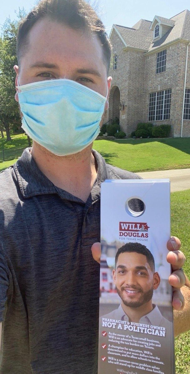 Shout out to Team #DouglasDoors out in the field for some Friday fun block-walking. Were pounding the pavement seven days a week here in District 113 -- shoot me a message if youd like to join our team and volunteer! #KeepTexasRed